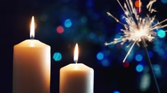 Christmas candles, lit sparkler Stock Footage