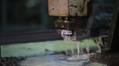 Band Saw - slow and very reliable way to cut metal. abundance of drops, mining Stock Footage