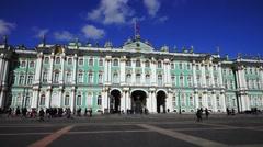 Hermitage Museum at Palace Square, Saint Petersburg Stock Footage