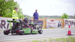 Go-kart drag racer preparing at START line 4K Stock Footage