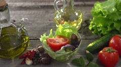 Fresh salad seasoned with spices cider vinegar. Slow motion 240 fps. Stock Footage