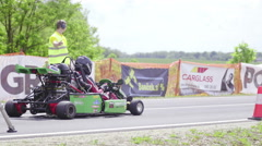 Drag race with go-kart shoot from Start line 4K Stock Footage