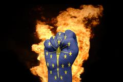 Fire fist with the flag of indiana Stock Photos