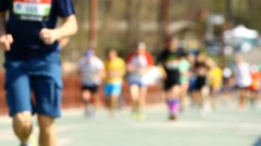 Blurred mass of a people marathon Stock Footage