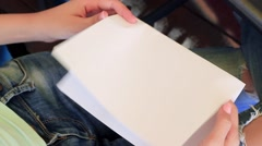 Woman Opens The Card. Marry Me Written In The card. - stock footage