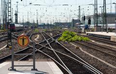 Railway train station Stock Photos