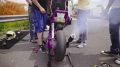 Motorbike Exhaust Pipe smoke 4K Stock Footage