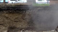 Break In Water Pipe Zoom In,pipeline accident audio - stock footage