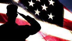 US Military Soldier Salute US Flag - stock footage