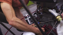 Mechanic check Dragster engine close up 4K Stock Footage