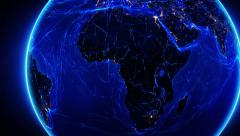 Earth bright connections and city lights. Africa. Blue. Stock Footage