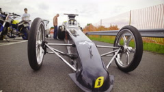 Sliding in front of Dragster small wheels 4K Stock Footage
