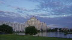 Beautiful sunset in Minsk day in night motion time lapse Stock Footage