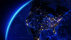 Earth bright connections and city lights. From United States to Europe. Blue. Stock Footage