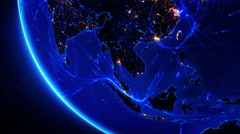 Earth bright connections and city lights. Asia. Blue.  Stock Footage