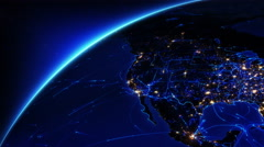 Bright connections moving around Earth. US and Europe with city lights. Blue. Stock Footage