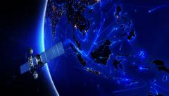 Satellite sending signals to Earth. Southeast Asia. 2 shots in 1 file. Blue. Stock Footage
