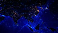 World map with bright connections and city lights. North America and Asia. Blue. Stock Footage