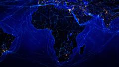 African and European map with bright connections and city lights. 2 in 1 file. Stock Footage