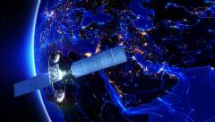 Satellite sending signals to Earth. Middle East. 2 shots in 1 file. Blue. Stock Footage