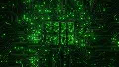 Futuristic circuit board with moving electrons. 2 in 1. Loopable. Technology. Stock Footage