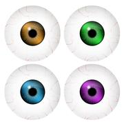 Image of realistic human eye ball with colorful pupil, iris. Vector illustrat Stock Illustration