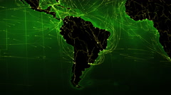 North and South American maps with bright connections. 2 shots in 1 file. Green. Stock Footage