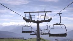 Chairlifts in Austrian Alps at summer Stock Footage
