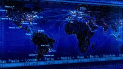 Loopable world map with major cities names, countries and time zones. Blue. Stock Footage