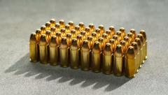 9mm bullets, close up dolly shot Stock Footage