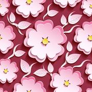 Pink seamless pattern with 3d sakura and leaves Stock Illustration