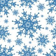 Celebratory seamless pattern with blue snowflakes Stock Illustration