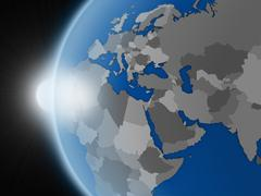 Sunset over EMEA region from space - stock illustration