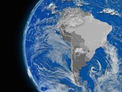 South american continent on political globe Stock Illustration