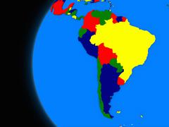 South american continent on political Earth Stock Illustration
