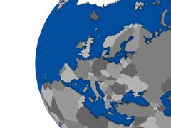Stock Illustration of European continent on political globe