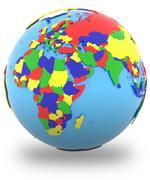 Eastern Hemisphere on the globe Stock Illustration