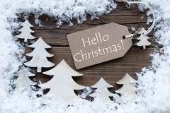 Label Trees And Snow Hello Christmas - stock photo