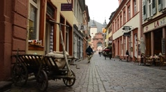 Old Alley from wooden cart Stock Footage