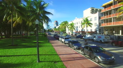 Miami Beach Ocean Drive aerial video Stock Footage