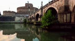 Stock Video Footage of ULTRA HD 4K real time shot,The Castel Sant'Angelo Bridge
