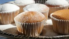 Powdered Muffins Dessert Platter Stock Footage