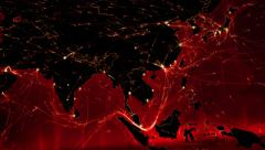 North American and Asian map with bright connections. Red. Stock Footage