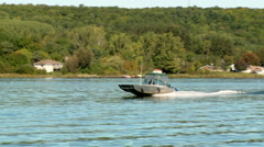 Runabout Steel Outboard Motor Boat Stock Footage