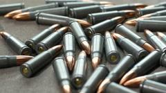 AK47 Bullets, dolly shot Stock Footage
