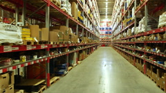 Shelves of boxes inside a storage warehouse Stock Footage