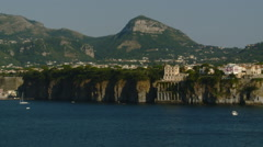 Amalfi Coast - Italian Village view from the Sea - Pan. Stock Footage