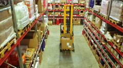 Cardboard boxes inside a storage warehouse. - stock footage