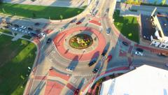 Scenic Aerial Rotation of Roundabout, Traffic Driving in Circle - stock footage