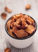 rustic deep fried crispy pork rind - stock photo